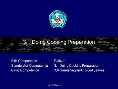 3. Doing Cooking Preparation Skill Competence: Patiseri Standard of Competence: 3. Doing Cooking Preparation Basic Competence: 3.6 Garnishing and Folded.