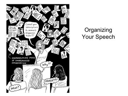 Organizing Your Speech. Organizing your speech: Introduction A disorganized speech will confuse your audience Clear organization: –Imposes order on your.