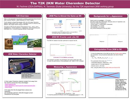 The XXII International Conference on Neutrino Physics and Astrophysics in Santa Fe, New Mexico, June 13-19, 2006 The T2K 2KM Water Cherenkov Detector M.