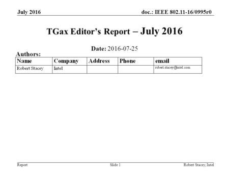 Doc.: IEEE 802.11-16/0995r0 Report July 2016 Robert Stacey, IntelSlide 1 TGax Editor's Report – July 2016 Date: 2016-07-25 Authors: