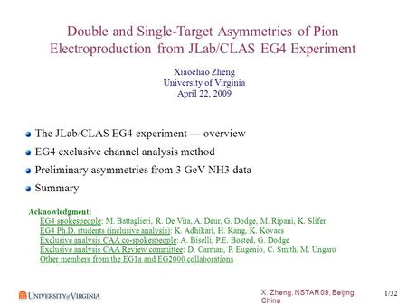 X. Zheng, NSTAR 09, Beijing, China 1 /32 Double and Single-Target Asymmetries of Pion Electroproduction from JLab/CLAS EG4 Experiment The JLab/CLAS EG4.