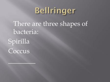 There are three shapes of bacteria: Spirilla Coccus ________.