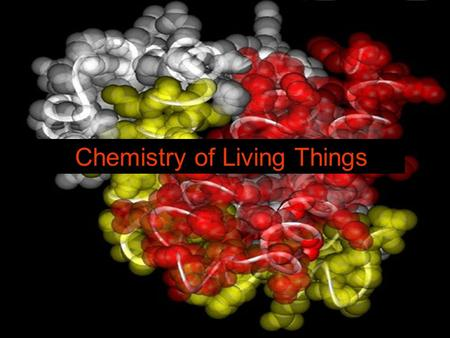 Chemistry of Living Things. Organic Molecules that contain Carbon and Hydrogen Examples: Carbohydrates, Proteins, Lipids and DNA Inorganic Any molecules.