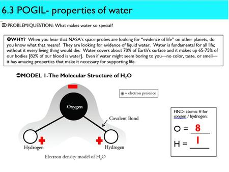 6.3 POGIL- properties of water