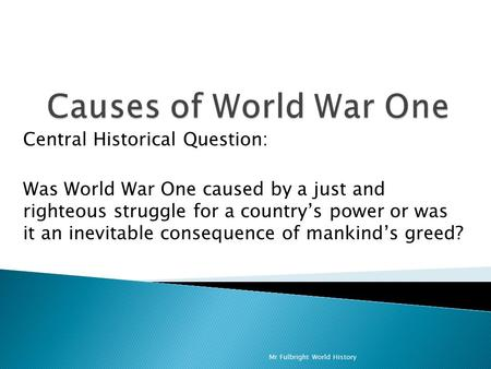 was wwi inevitable essay