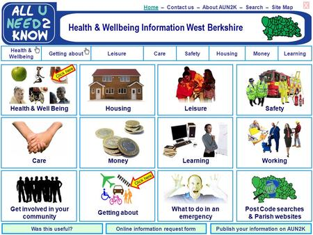 Getting about Health & Wellbeing LeisureCareSafetyHousingMoneyLearning HomeHome – Contact us – About AUN2K – Search – Site Map Was this useful?Online information.