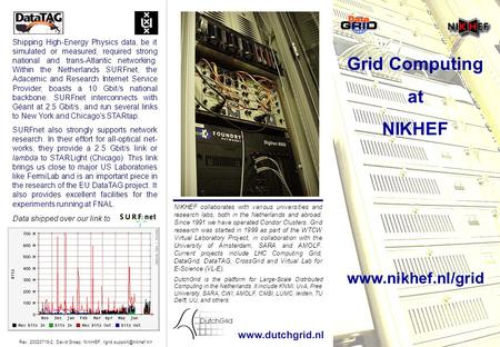 Grid Computing at NIKHEF  Shipping High-Energy Physics data, be it simulated or measured, required strong national and trans-Atlantic.