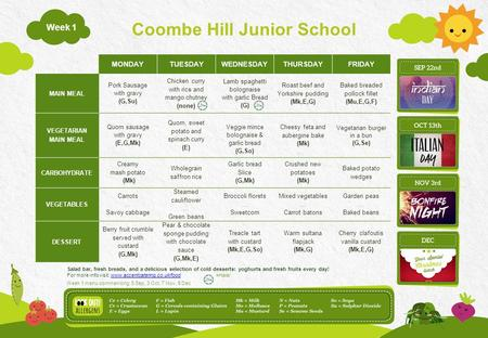 Coombe Hill Junior School Week 1 MONDAYTUESDAYWEDNESDAYTHURSDAYFRIDAY MAIN MEAL Pork Sausage with gravy (G,Su) Chicken curry with rice and mango chutney.