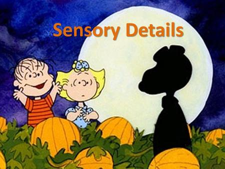 Sensory Details. What are Sensory Details? Sensory details: details that you can observe through your senses – Sights/visual details – Sounds – Smells.