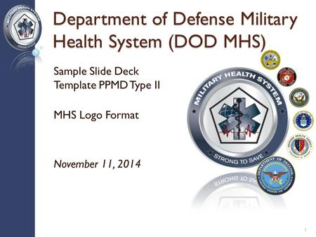 Department of Defense Military Health System (DOD MHS) Sample Slide Deck Template PPMD Type II MHS Logo Format November 11, 2014 1.