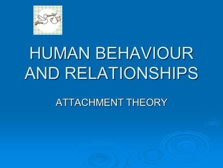 HUMAN BEHAVIOUR AND RELATIONSHIPS ATTACHMENT THEORY.