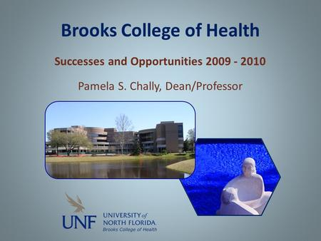 Brooks College of Health Successes and Opportunities 2009 - 2010 Pamela S. Chally, Dean/Professor.