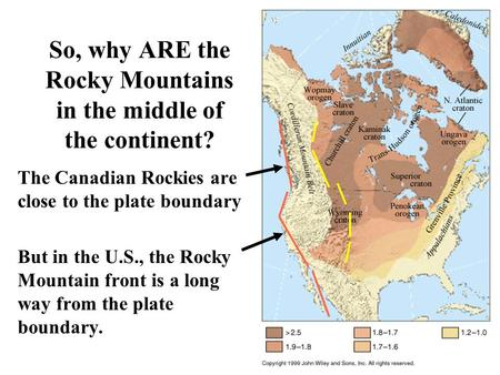 So, why ARE the Rocky Mountains in the middle of the continent? The Canadian Rockies are close to the plate boundary But in the U.S., the Rocky Mountain.