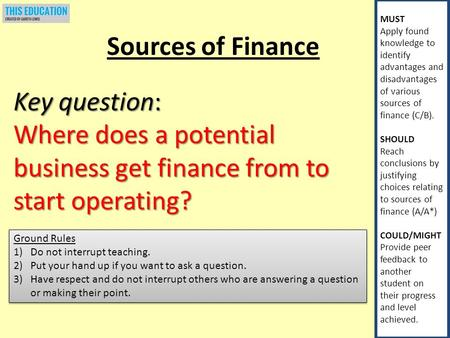 MUST Apply found knowledge to identify advantages and disadvantages of various sources of finance (C/B). SHOULD Reach conclusions by justifying choices.