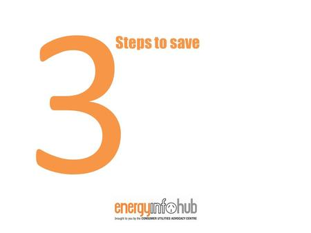 3 Steps to save. 3 Saving energy Saving Energy 70% of all energy use is from these areas.