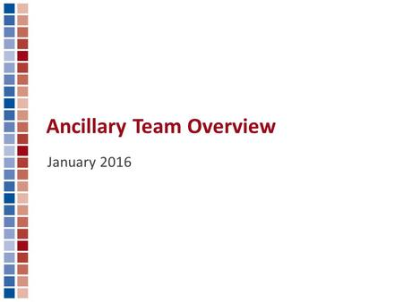 Ancillary Team Overview January 2016. What is the Ancillary Team? Ancillary Team Overview The Ancillary team is responsible for building the multiple.