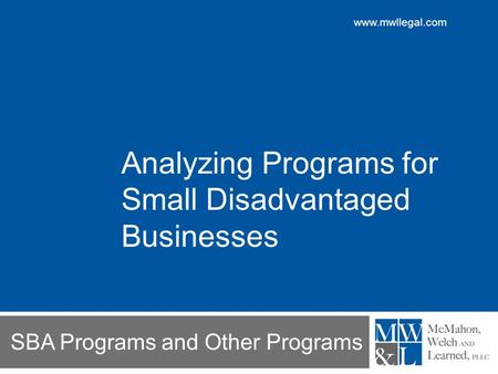 SBA Programs and Other Programs Analyzing Programs for Small Disadvantaged Businesses.