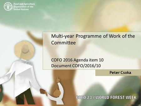 Multi-year Programme of Work of the Committee COFO 2016 Agenda item 10 Document COFO/2016/10 Peter Csoka.