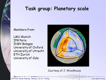 Mid-Term Review Meeting, February 13-14, Tutzing Task group: Planetary scale Members from: LMU Munich IPG Paris INGV Bologna University.