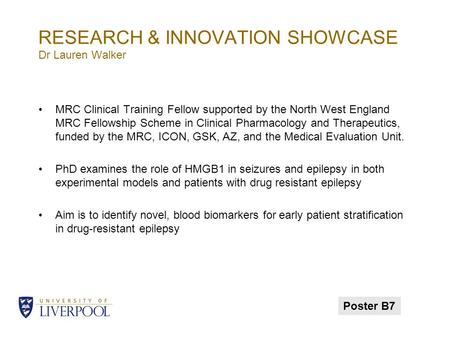RESEARCH & INNOVATION SHOWCASE Dr Lauren Walker MRC Clinical Training Fellow supported by the North West England MRC Fellowship Scheme in Clinical Pharmacology.