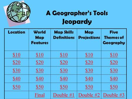 A Geographer's Tools Jeopardy LocationWorld Map Features Map Skills Definitions Map Projections Five Themes of Geography $10 $20 $30 $40 $50 FinalDouble.