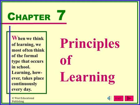 © West Educational Publishing Principles of Learning C HAPTER 7 W hen we think of learning, we most often think of the formal type that occurs in school.