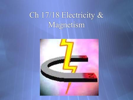 Ch 17/18 Electricity & Magnetism. Electric Charge:  Electric charge – a property of matter that creates electric and magnetic forces and interactions.