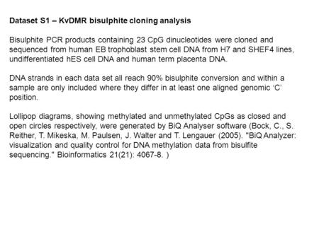 Dataset S1 – KvDMR bisulphite cloning analysis Bisulphite PCR products containing 23 CpG dinucleotides were cloned and sequenced from human EB trophoblast.