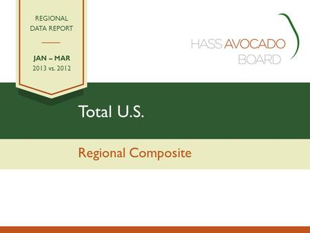 Total U.S. Regional Composite REGIONAL DATA REPORT JAN – MAR 2013 vs. 2012.