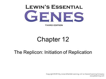 Chapter 12 The Replicon: Initiation of Replication