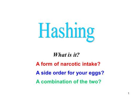 1 What is it? A side order for your eggs? A form of narcotic intake? A combination of the two?