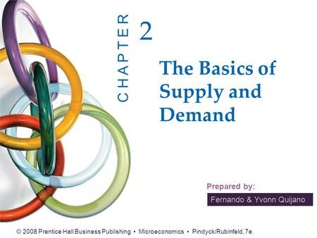 Fernando & Yvonn Quijano Prepared by: © 2008 Prentice Hall Business Publishing Microeconomics Pindyck/Rubinfeld, 7e. The Basics of Supply and Demand 2.