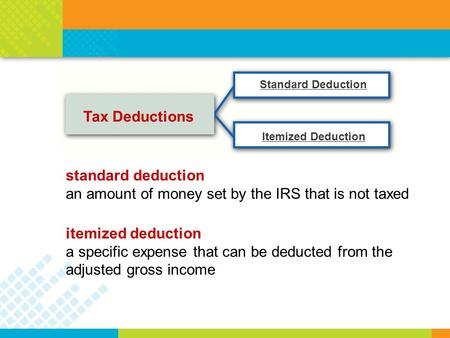 Tax Deductions Standard Deduction Itemized Deduction standard deduction an amount of money set by the IRS that is not taxed itemized deduction a specific.