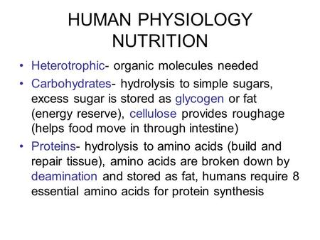 HUMAN PHYSIOLOGY NUTRITION Heterotrophic- organic molecules needed Carbohydrates- hydrolysis to simple sugars, excess sugar is stored as glycogen or fat.