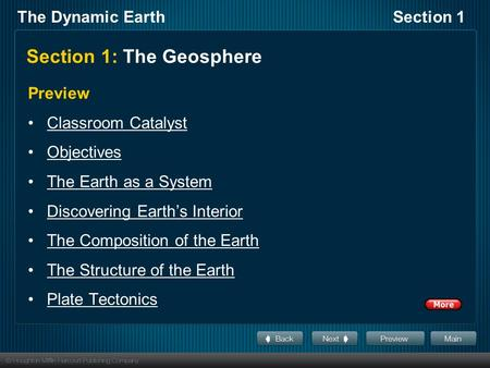 The Dynamic EarthSection 1 Section 1: The Geosphere Preview Classroom Catalyst Objectives The Earth as a System Discovering Earth's Interior The Composition.