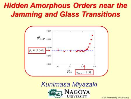 Kunimasa Miyazaki (CECAM meeting 06/28/2013) Hidden Amorphous Orders near the Jamming and Glass Transitions.