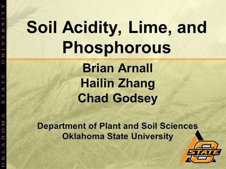 Soil Acidity, Lime, and Phosphorous Brian Arnall Hailin Zhang Chad Godsey Department of Plant and Soil Sciences Oklahoma State University.