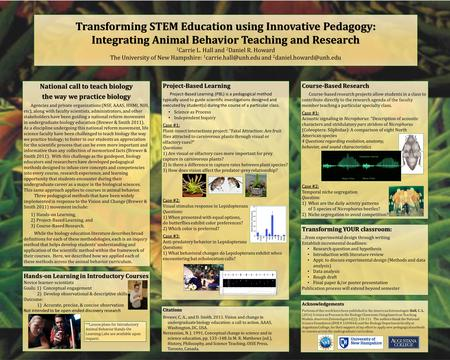 Transforming STEM Education using Innovative Pedagogy: Integrating Animal Behavior Teaching and Research 1 Carrie L. Hall and 2 Daniel R. Howard The University.
