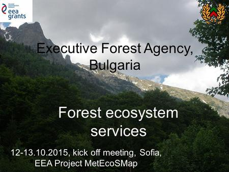 EXECUTIVE FOREST AGENCY FOREST SECTOR IN THE REPUBLIC OF BULGARIA REPUBLIC OF BULGARIA EXECUTIVE FOREST AGENCY Executive Forest Agency, Bulgaria Forest.