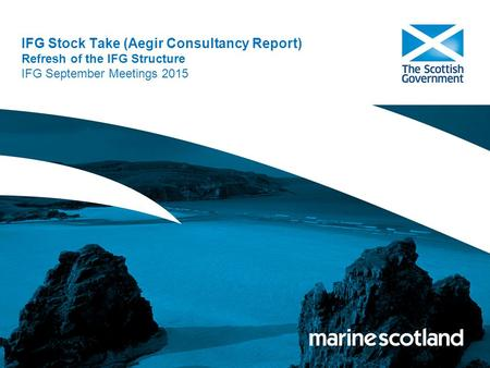 IFG Stock Take (Aegir Consultancy Report) Refresh of the IFG Structure IFG September Meetings 2015.