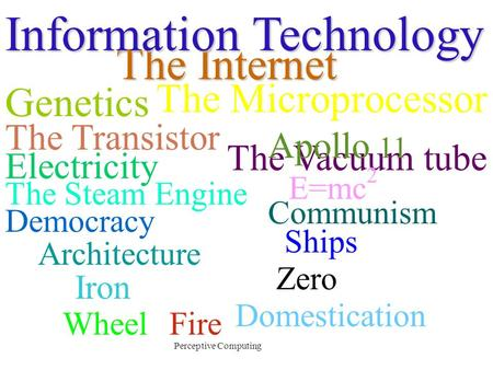 Perceptive Computing Democracy Communism Architecture The Steam Engine WheelFire Zero Domestication Iron Ships Electricity The Vacuum tube E=mc 2 The.