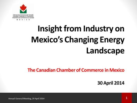 1 Annual General Meeting, 29 April 2014 Insight from Industry on Mexico's Changing Energy Landscape The Canadian Chamber of Commerce in Mexico 30 April.
