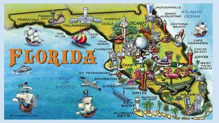 FLORIDA The sunshine city Florida is called the Sunshine State because of its subtropical to tropical climate and annual average of 230 days with sunshine.