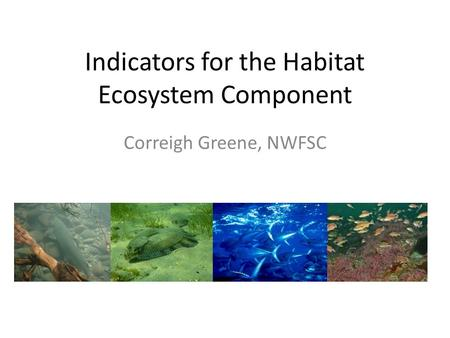 Indicators for the Habitat Ecosystem Component Correigh Greene, NWFSC.
