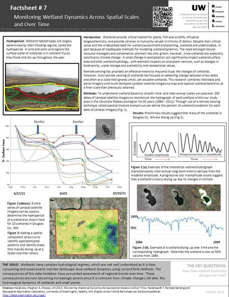 Citation: Halabisky, Meghan A, Moskal, LM 2013. Monitoring Wetlands Dynamics Across Spatial Scales and Over Time. Factsheet # 7. Remote Sensing and Geospatial.