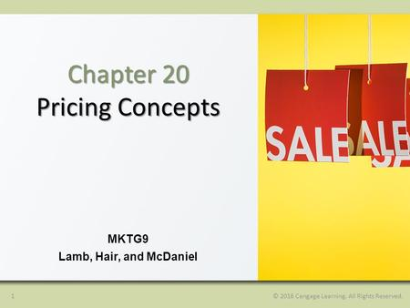 1© 2016 Cengage Learning. All Rights Reserved. MKTG9 Lamb, Hair, and McDaniel Chapter 20 Pricing Concepts.