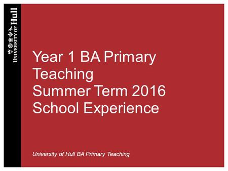 Year 1 BA Primary Teaching Summer Term 2016 School Experience University of Hull BA Primary Teaching.