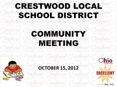 CRESTWOOD LOCAL SCHOOL DISTRICT COMMUNITY MEETING OCTOBER 15, 2012.