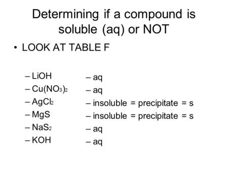 Determining if a compound is soluble (aq) or NOT LOOK AT TABLE F –LiOH –Cu(NO 3 ) 2 –AgCl 2 –MgS –NaS 2 –KOH –aq –insoluble = precipitate = s –aq.
