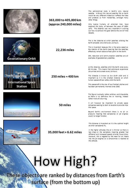 35,000 feet = 6.62 miles 50 miles 250 miles  400 km 22,236 miles 363,000 to 405,000 km (approx 240,000 miles) This is the distance at which satellites.